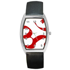 Hindu Om Symbol (red) Barrel Style Metal Watch by abbeyz71