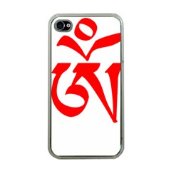 Tibetan Om Symbol (red) Apple Iphone 4 Case (clear) by abbeyz71