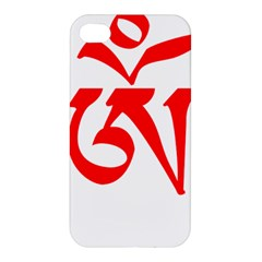 Tibetan Om Symbol (red) Apple Iphone 4/4s Premium Hardshell Case by abbeyz71