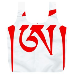 Tibetan Om Symbol (red) Full Print Recycle Bags (l)  by abbeyz71