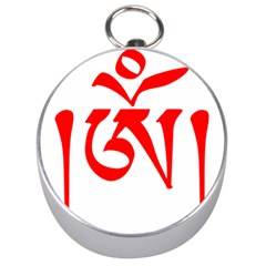 Tibetan Om Symbol (red) Silver Compasses by abbeyz71