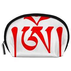 Tibetan Om Symbol (red) Accessory Pouches (large)  by abbeyz71