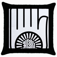 Janism Ahimsa Symbol  Throw Pillow Case (black) by abbeyz71