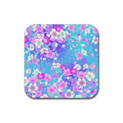 Flowers Cute Pattern Rubber Square Coaster (4 Pack)