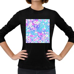 Flowers Cute Pattern Women s Long Sleeve Dark T Shirts