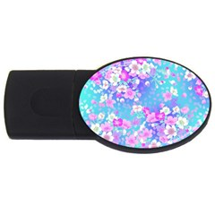 Flowers Cute Pattern Usb Flash Drive Oval (4 Gb) by Nexatart