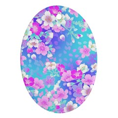 Flowers Cute Pattern Oval Ornament (two Sides)