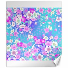 Flowers Cute Pattern Canvas 8  X 10  by Nexatart