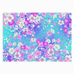 Flowers Cute Pattern Large Glasses Cloth (2 Side) by Nexatart