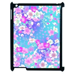 Flowers Cute Pattern Apple Ipad 2 Case (black) by Nexatart