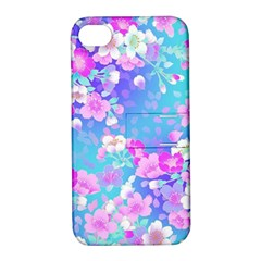 Flowers Cute Pattern Apple Iphone 4/4s Hardshell Case With Stand by Nexatart