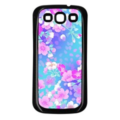 Flowers Cute Pattern Samsung Galaxy S3 Back Case (black) by Nexatart