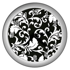 Black And White Floral Patterns Wall Clocks (silver)