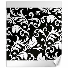 Black And White Floral Patterns Canvas 8  X 10  by Nexatart
