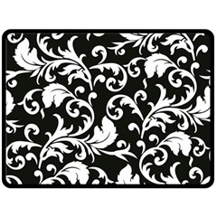 Black And White Floral Patterns Fleece Blanket (large)
