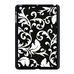 Black And White Floral Patterns Apple Ipad Mini Case (black) by Nexatart