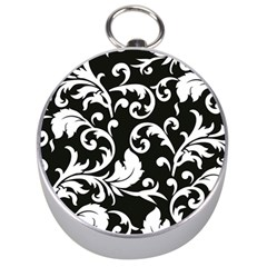 Black And White Floral Patterns Silver Compasses by Nexatart