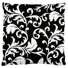 Black And White Floral Patterns Large Flano Cushion Case (one Side) by Nexatart