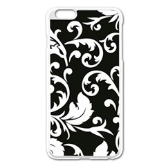 Black And White Floral Patterns Apple Iphone 6 Plus/6s Plus Enamel White Case by Nexatart
