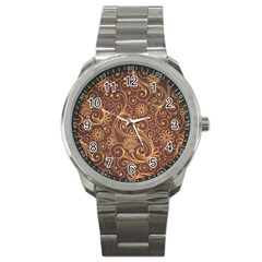 Gold And Brown Background Patterns Sport Metal Watch