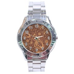 Gold And Brown Background Patterns Stainless Steel Analogue Watch by Nexatart