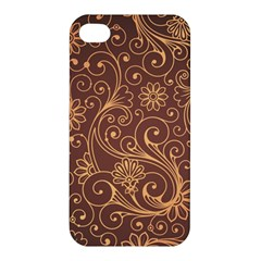 Gold And Brown Background Patterns Apple Iphone 4/4s Hardshell Case by Nexatart
