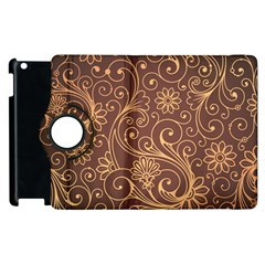 Gold And Brown Background Patterns Apple Ipad 2 Flip 360 Case by Nexatart