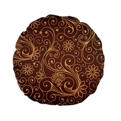 Gold And Brown Background Patterns Standard 15  Premium Round Cushions