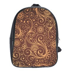 Gold And Brown Background Patterns School Bags (xl)  by Nexatart
