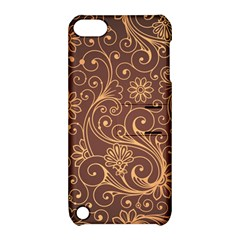 Gold And Brown Background Patterns Apple Ipod Touch 5 Hardshell Case With Stand by Nexatart