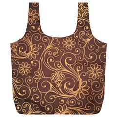 Gold And Brown Background Patterns Full Print Recycle Bags (l)  by Nexatart