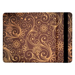 Gold And Brown Background Patterns Samsung Galaxy Tab Pro 12 2  Flip Case by Nexatart