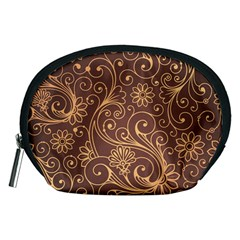 Gold And Brown Background Patterns Accessory Pouches (medium)  by Nexatart