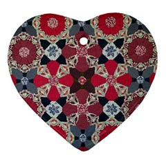 Beautiful Art Pattern Heart Ornament (two Sides) by Nexatart