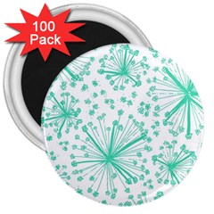 Pattern Floralgreen 3  Magnets (100 Pack) by Nexatart