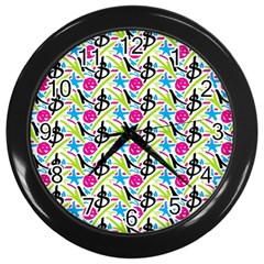 Cool Graffiti Patterns  Wall Clocks (black)