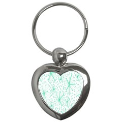 Pattern Floralgreen Key Chains (heart)  by Nexatart