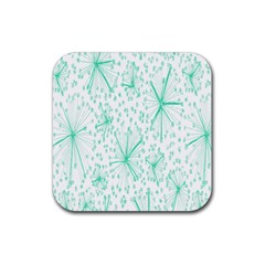 Pattern Floralgreen Rubber Square Coaster (4 Pack)  by Nexatart