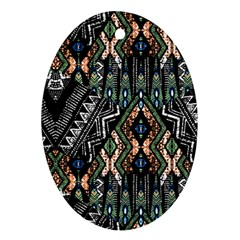 Ethnic Art Pattern Oval Ornament (two Sides) by Nexatart