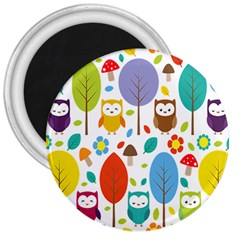 Cute Owl 3  Magnets by Nexatart