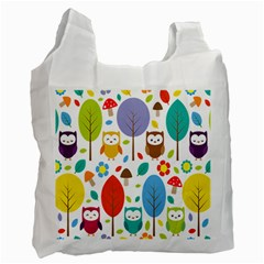 Cute Owl Recycle Bag (two Side)  by Nexatart