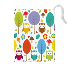 Cute Owl Drawstring Pouches (extra Large) by Nexatart