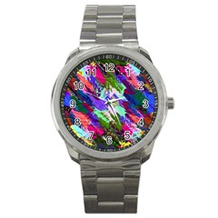 Tropical Jungle Print And Color Trends Sport Metal Watch by Nexatart