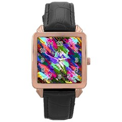 Tropical Jungle Print And Color Trends Rose Gold Leather Watch