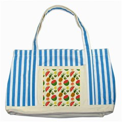Fruits Pattern Striped Blue Tote Bag by Nexatart