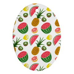 Fruits Pattern Oval Ornament (two Sides) by Nexatart