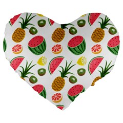 Fruits Pattern Large 19  Premium Heart Shape Cushions by Nexatart