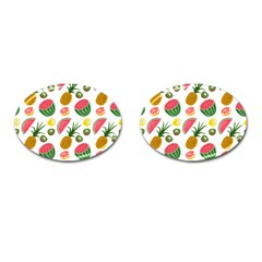 Fruits Pattern Cufflinks (oval) by Nexatart