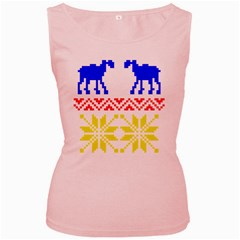 Jacquard With Elks Women s Pink Tank Top by Nexatart