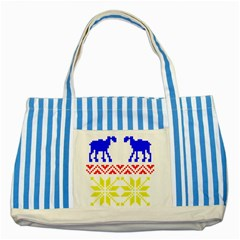 Jacquard With Elks Striped Blue Tote Bag by Nexatart